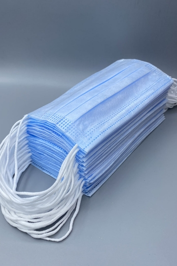 Маски медицинские одноразовые трехслойные,голубые. Упаковка 30 шт.