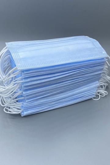 Маски медицинские одноразовые трехслойные,голубые. Упаковка 50 шт.