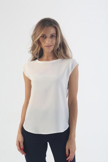 "Блузка с короткий рукавом ""Шелк Абрау"" белая"